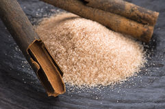 Aromatic spices with brown sugar - cinnamon Royalty Free Stock Image