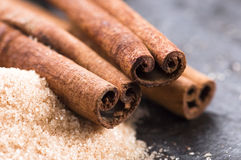 Aromatic spices with brown sugar - cinnamon Royalty Free Stock Photos
