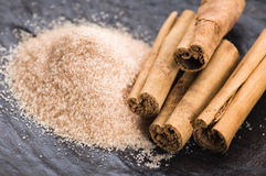 Aromatic spices with brown sugar - cinnamon Stock Photography
