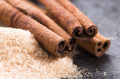 Aromatic spices with brown sugar - cinnamon Stock Image
