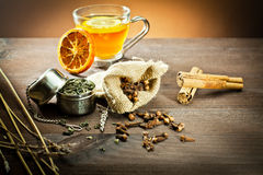 Aromatic spices and decoration for tea Royalty Free Stock Photos