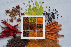 Aromatic spices, herbs on the gray background: star anise, fragrant pepper, cinnamon, nutmeg, bay leaves, paprika. Spices texture. Aromatic spices and herbs on stock images