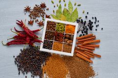 Aromatic spices and herbs on the gray background: star anise, fragrant pepper, cinnamon, nutmeg, bay leaves, paprika. Spices texture background. Top view stock photo