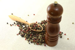 Aromatic spices pepper and grinder  on white Stock Photos