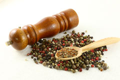 Aromatic spices pepper and grinder  on white Royalty Free Stock Photo