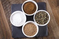 Aromatic spices in white bowls Royalty Free Stock Photo