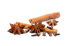 Aromatic star anise. And cinnamon isolated on white background Stock Photos