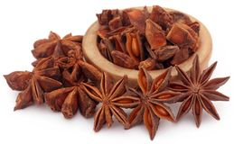 Aromatic star anise. Over white background Royalty Free Stock Photos