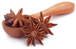 Aromatic star anise. Over white background Stock Photos