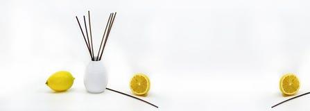 Aromatic sticks for home in white ceramic vase. Stock Photos