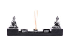Aromatic sticks and lord budhha idols Royalty Free Stock Images