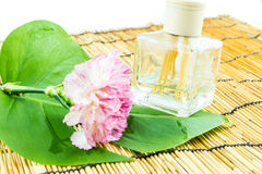 Aromatic sticks with pink carnation and green leaf on bamboo bac Royalty Free Stock Images