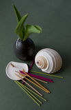 Aromatic Sticks, Porcelain Stand and Japan Vase. Aromatic Sticks, Porcelain Stand, Seashell and Japan Vase Stock Image