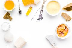 Aromatic theraphy and delicate skin care. Spa set based on honey on white background top view copy space. Aromatic theraphy and delicate skin care. Spa set based stock images