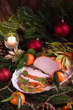 Aromatic turkey roast in piquant marinade and Bay laurel Royalty Free Stock Photos