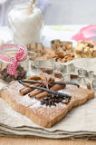 aromatic vanilla and cinnamon bark on wooden background Royalty Free Stock Image