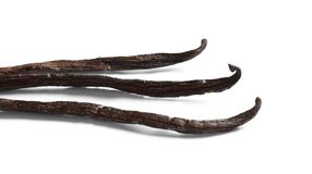 Aromatic vanilla sticks o. N white background Royalty Free Stock Photography