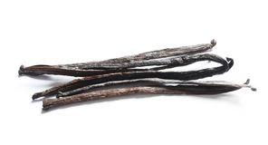 Aromatic vanilla sticks. On white background Stock Photos
