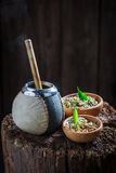 Aromatic yerba mate with bombilla and calabash Stock Images