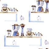 Aromatisch het voedselpatroon van het koffiehuis in een waterverfstijl Volledige naam van het voedsel: koffie Aquarelle voedsel v vector illustratie