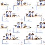 Aromatisch het voedselpatroon van het koffiehuis in een waterverfstijl Volledige naam van het voedsel: koffie Aquarelle voedsel v royalty-vrije illustratie