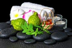 Aromatische Badekurorteinstellung der Bergamotte trägt, frische Minze, Rosmarin, c Früchte Stockfotografie