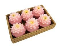 Aromatische kaars voor aromatherapy op wit stock foto