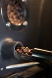 Aromatische Kaffeebohnen überprüfen - Nahaufnahme Lizenzfreie Stockfotos
