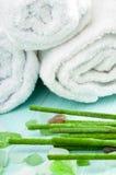 Aromatische Stöcke und Tücher des Badekurortes Stockbild