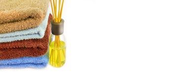 Aromatisches Erfrischungsmittel mit Tüchern stockfoto