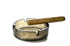 Aromatisk cigarr på ett askfat Arkivfoton