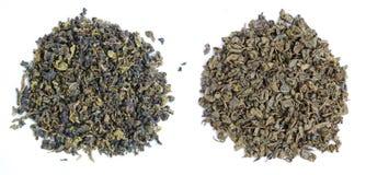 Aromatisk grön tea lämnar royaltyfria foton