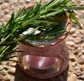 Aromatisk lampa och filialer av rosmarin Royaltyfri Foto