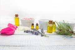 Aromaty kąpielowa sól Wzrastał, lawenda i sosnowi pobliscy puchary z kolorową kąpielową solą na lekkiej drewnianej tło odgórnego  fotografia stock
