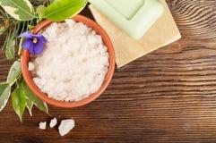 Aromatyczna kąpielowa sól w glinianej filiżance Obrazy Royalty Free