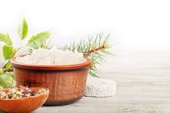 Aromatyczna kąpielowa sól i wysuszeni ziele Fotografia Stock