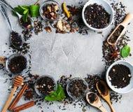 Aromatyczna sucha herbata w pucharach obrazy royalty free