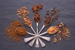 Aromatyczne pikantność i brązu cukier w srebnych łyżkach na czerni drylują tło fotografia stock
