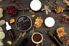 Aromatyczni botaniczni kosmetyki Wysuszeni ziele kwitną miksturę, aromatyczną domowej roboty pętaczki pastę robić od kawowych zie obraz royalty free