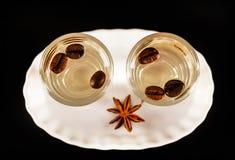Aromatyczny anyżowy alkohol z kawowymi fasolami w szkle, napoju set obrazy stock