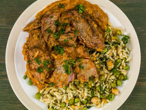 Aromatyczny Jagnięcy curry Z Jarzynowym Rice zdjęcia stock