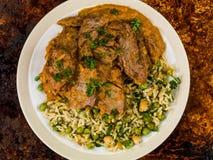 Aromatyczny Jagnięcy curry Z Jarzynowym Rice zdjęcia royalty free