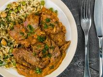 Aromatyczny Jagnięcy curry Z Jarzynowym Rice obraz royalty free