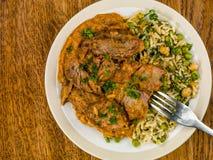Aromatyczny Jagnięcy curry Z Jarzynowym Rice obrazy royalty free
