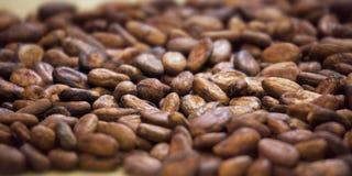 Aromatyczny kakaowych fasoli tło fotografia stock