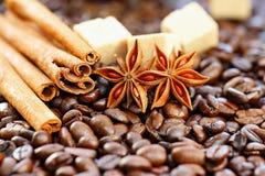 Aromatyczny set z kawą, anyżem, cukierem i cynamonem, zdjęcie royalty free