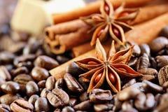 Aromatyczny set z kawą, anyżem, cukierem i cynamonem, obraz royalty free