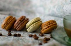 Aromi e sapori della Francia Macarons Fotografie Stock Libere da Diritti