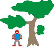 Aron Robot Standing Near Tree Model A1 Blue Red Gray. Aron Robot Standing Model A1 Blue Red Gray is very interesting for many illustrations. It's sophisticated royalty free illustration