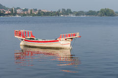 ARONA, ITALY/ EUROPE - SEPTEMBER 17: Traditional boat on Lake Ma. Ggiore Piedmont Italy on September 17, 2015 stock images